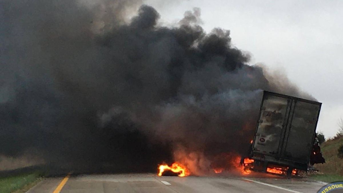 'It's now well done': Tyson Foods truck carrying raw chicken catches fire on Missouri highway