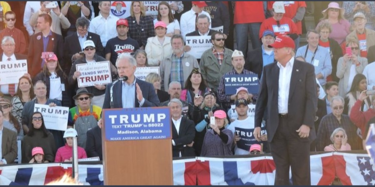 Running for Senate again, Sessions starts by praising Trump