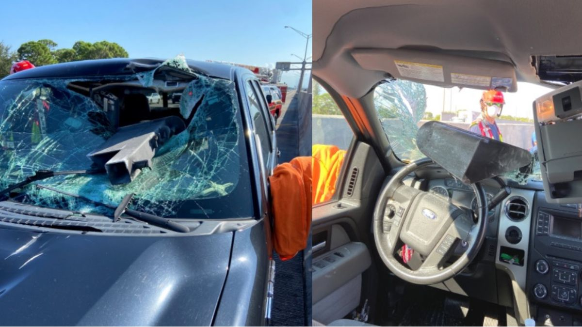 Close call: Florida driver 'lucky to be alive' after metal crashes through windshield